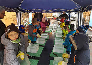 Eis-Skulpturen Grundschule Mylau